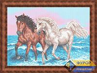 Схема для полной вышивки бисером - Пара лошадей бегущая по волнам, Арт. ЖБп3-74