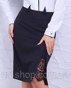 Женская юбка карандаш с разрезом больших размеров (Камелия lzn)