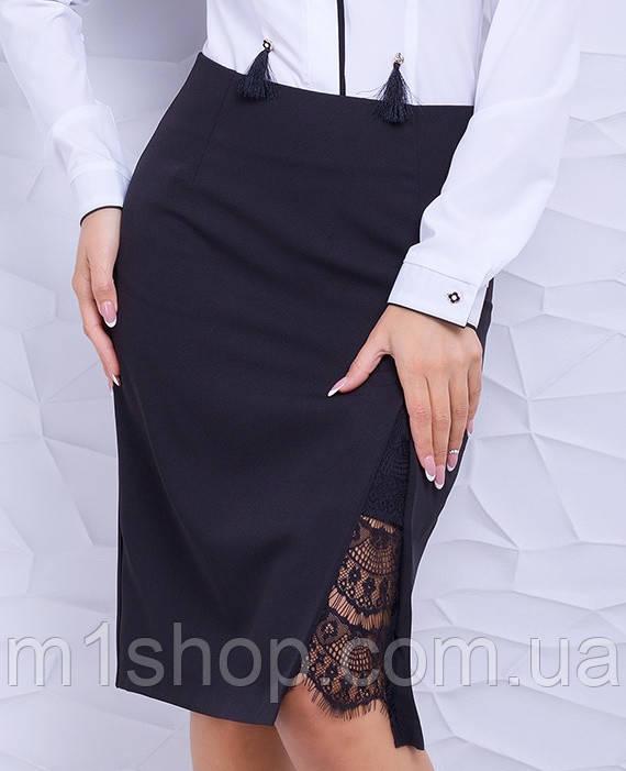 Женская деловая юбка карандаш с разрезом (Камелия lzn)