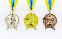 Медаль спортивная с лентой Карате d-5см (металл, 29 g)