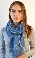 Синий однотонный женский шарф