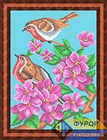 Схема для полной вышивки бисером - Птички на цветущей ветке, Арт. ЖБп4-41