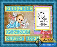 Схема для частичной вышивки бисером - Метрика для мальчика, Арт. ЛБч3-42