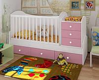 """Кроватка+люлька+пеленатор+подростковая кровать """"Дрим"""" (белый+розовая сакура)"""