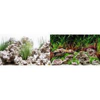 Фон Hagen двойной, растения с камнями/камни, 45 см х 7,5 м, голубой фон