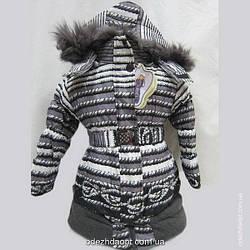 Пальто Полоска для девочек , с трикотажной вставкой 0905 Зима