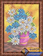 Схема для полной вышивки бисером на габардине - Полевые цветы в вазе, Арт. НБп4-88