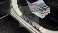 Защитные хром накладки на пороги Fiat 500 L (фиат 500 л 2012г+)