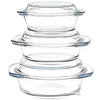 Набор стеклянных кастрюль А-ПЛЮС 3 шт (1092)