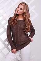 Вязаный свитер цвет коричневый, размер универсальный 44-50