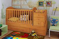 """Кроватка трансформер с пеленальным комодом и маятниковым механизмом  """"Дримка"""" (ольха)"""