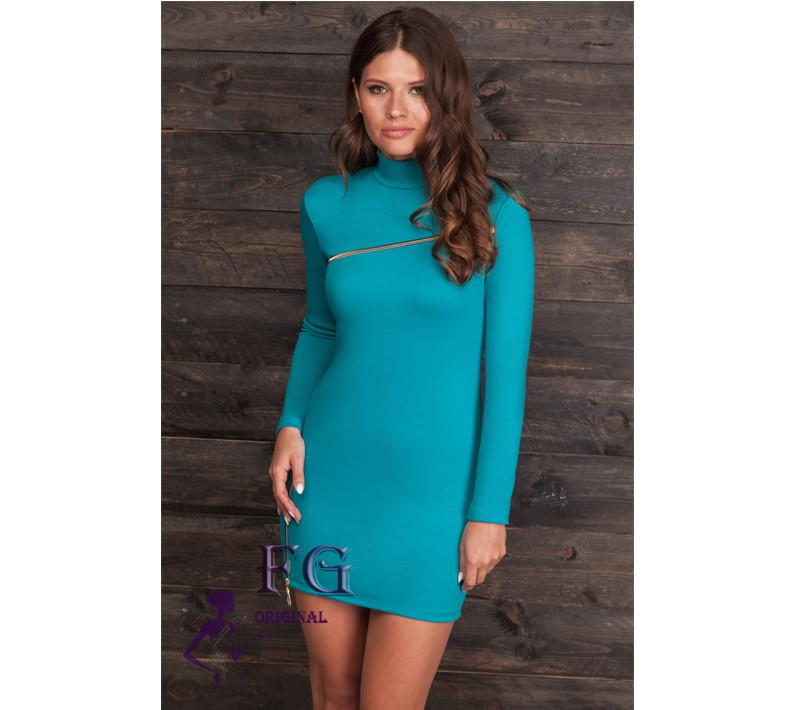 """Платье с длинным рукавом """"Glamour"""". Распродажа модели 48, бирюзовый"""