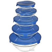 Стеклянные пищевые контейнеры с крышками, 5 шт (0120)