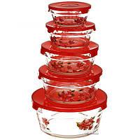 Набор пищевых контейнеров с крышками, 5 шт (0123)