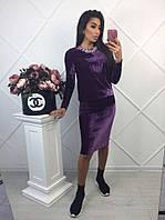Велюровый юбочный костюм с украшением