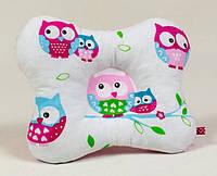 Подушка для младенцев ортопедическая бабочка BabySoon Нежные совушки 22 х 26 см розовая (138), фото 1