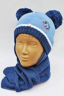 Модная зимняя шапочка на флисе+шарф . Польша