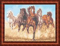 Набор для полной вышивки бисером - Табун бегущих лошадей, Арт. ЖБп2-5
