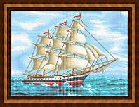 Набор для полной вышивки бисером - Парусник с белыми парусами, Арт. ПБп2-4-1