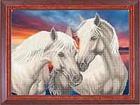 Набор для частичной вышивки бисером - Пара лошадей на закате, Арт. ЖБч3-17