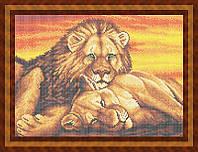 Набор для полной вышивки бисером - Пара львов на закате, Арт. ЖБп3-58