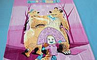 Микрофибровая простынь, покрывало Elway детское (127х152см) Маша и медведь  Розовый