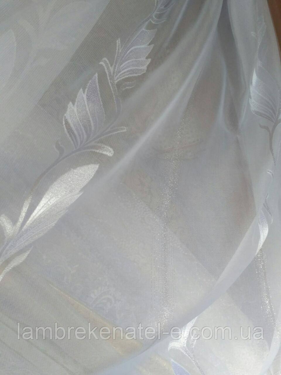 Тюль JC серебряный лист