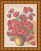 Набор для полной вышивки бисером - Полевые маки в глиняной вазе, Арт. НБп3-29-1