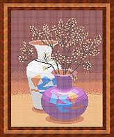 Набор для полной вышивки бисером - Натюрморт из двух ваз, Арт. НБп3-33