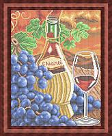 Набор для полной вышивки бисером - Виноград и бутылка вина, Арт. НБп3-38
