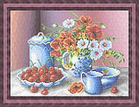 Набор для частичной вышивки бисером - Цветы в вазе и вишня, Арт. НБч3-40