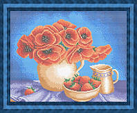 Набор для полной вышивки бисером - Цветы в вазе и клубника, Арт. НБп3-41-3