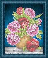 Набор для частичной вышивки бисером - Цветы пионы, Арт. НБч3-50