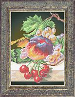 Набор для частичной вышивки бисером - Натюрморт из персика, винограда и вишни, Арт. НБч4-9