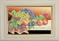 Набор для частичной вышивки бисером - Бокал вина и фрукты на столе, Арт. НБч4-17