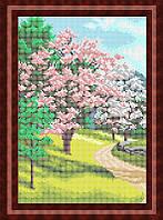 Набор для полной вышивки бисером - Цветущие деревья весной, Арт. ПБп4-9