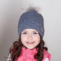 Вязаная шапка на девочку с помпоном.