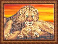 Набор для частичной вышивки бисером - Пара львов, Арт. ЖБч2-7