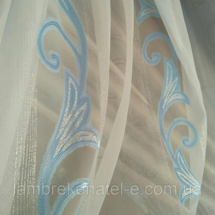 Тюль голубая лилия