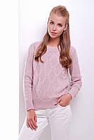 Вязаный свитер цвет пудра, размер универсальный 44-50