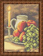 Набор для полной вышивки бисером - Свеча и фруктовый натюрморт, Арт. НБп4-46