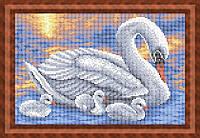 Набор для полной вышивки бисером - Лебеди на пруду, Арт. ЖБп4-25