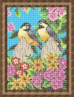 Набор для полной вышивки бисером - Птички синички на заборе в цветах, Арт. ЖБп4-30
