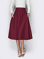 Женская стильная бордовая юбка-миди р.48