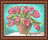 Набор для полной вышивки бисером - Тюльпаны в корзинке, Арт. НБп3-61-1