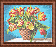 Набор для полной вышивки бисером - Букет тюльпанов в корзинке, Арт. НБп3-61-2