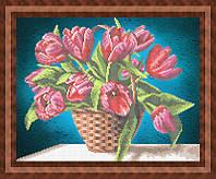 Набор для частичной вышивки бисером - Тюльпаны в корзинке, Арт. НБч3-62-1