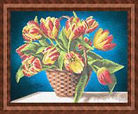 Набор для частичной вышивки бисером - Цветы в корзинке, Арт. НБч3-62-2