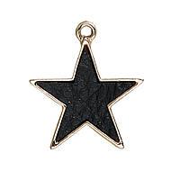 Подвеска Черная Звезда, Black Star, С узором, 24мм x 21мм