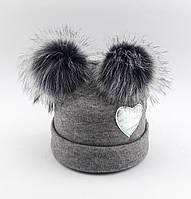 Теплая ангоровая шапка детская 50-56р